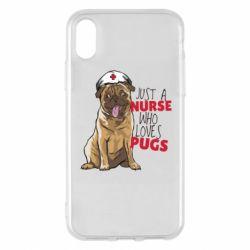 Чехол для iPhone X/Xs Nurse loves pugs