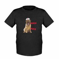Детская футболка Nurse loves pugs