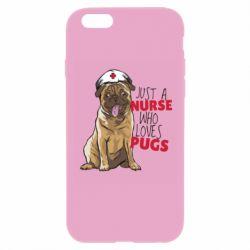 Чехол для iPhone 6/6S Nurse loves pugs
