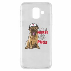 Чехол для Samsung A6 2018 Nurse loves pugs