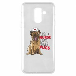 Чехол для Samsung A6+ 2018 Nurse loves pugs