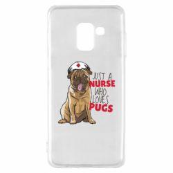 Чехол для Samsung A8 2018 Nurse loves pugs