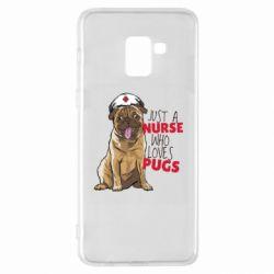 Чехол для Samsung A8+ 2018 Nurse loves pugs