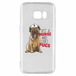 Чехол для Samsung S7 Nurse loves pugs
