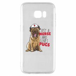 Чехол для Samsung S7 EDGE Nurse loves pugs