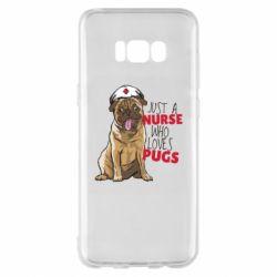 Чехол для Samsung S8+ Nurse loves pugs