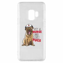 Чехол для Samsung S9 Nurse loves pugs