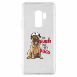 Чехол для Samsung S9+ Nurse loves pugs