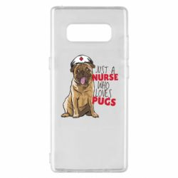 Чехол для Samsung Note 8 Nurse loves pugs
