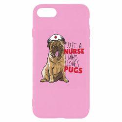 Чехол для iPhone 8 Nurse loves pugs