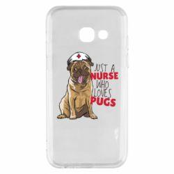Чехол для Samsung A3 2017 Nurse loves pugs