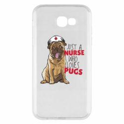 Чехол для Samsung A7 2017 Nurse loves pugs