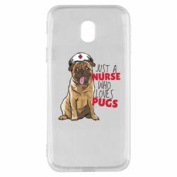 Чехол для Samsung J3 2017 Nurse loves pugs
