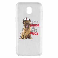 Чехол для Samsung J5 2017 Nurse loves pugs