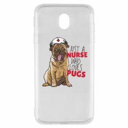 Чехол для Samsung J7 2017 Nurse loves pugs