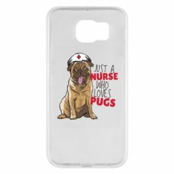 Чехол для Samsung S6 Nurse loves pugs