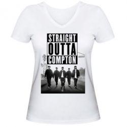 Женская футболка с V-образным вырезом NWA in da streets