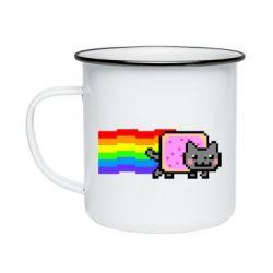 Кружка емальована Nyan cat