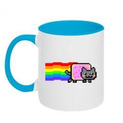 Кружка двоколірна 320ml Nyan cat