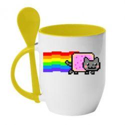 Кружка з керамічною ложкою Nyan cat