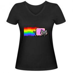 Жіноча футболка з V-подібним вирізом Nyan cat