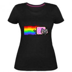 Жіноча стрейчева футболка Nyan cat