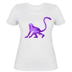 Женская футболка Обезьяна акварельная