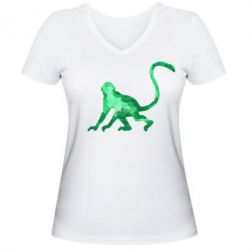 Женская футболка с V-образным вырезом Обезьяна акварельная - FatLine