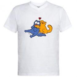 Мужская футболка  с V-образным вырезом Обнимашки цветные