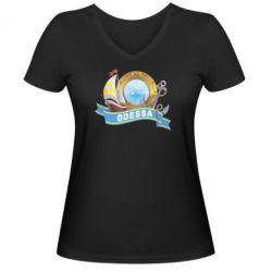 Женская футболка с V-образным вырезом Одесса - FatLine