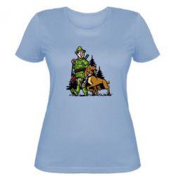 Женская футболка Охотник с собакой
