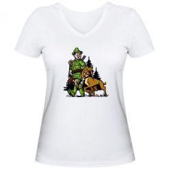Женская футболка с V-образным вырезом Охотник с собакой