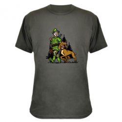Камуфляжная футболка Охотник с собакой - FatLine