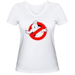 Женская футболка с V-образным вырезом Охотники за привидениями - FatLine