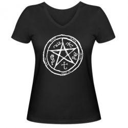 Женская футболка с V-образным вырезом Оккультный символ Сверхъестественное - FatLine