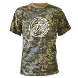 Камуфляжная футболка Оккультный символ Сверхъестественное - FatLine