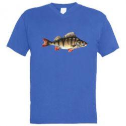 Мужская футболка  с V-образным вырезом Окунь - FatLine