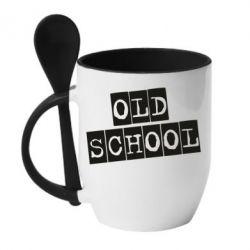 Кружка з керамічною ложкою old school