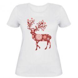 Женская футболка Олень в снежинках