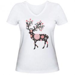 Женская футболка с V-образным вырезом Олень в снежинках