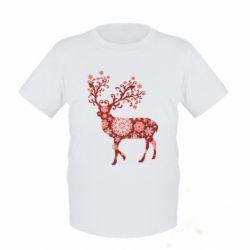 Детская футболка Олень в снежинках