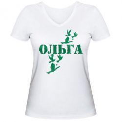 Женская футболка с V-образным вырезом Ольга
