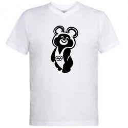 Мужская футболка  с V-образным вырезом Олимпийский Мишка - FatLine
