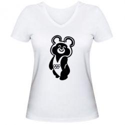 Женская футболка с V-образным вырезом Олимпийский Мишка - FatLine