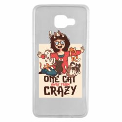 Чехол для Samsung A7 2016 One cat away from crazy