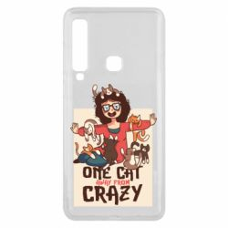 Чехол для Samsung A9 2018 One cat away from crazy