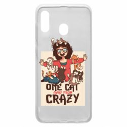 Чехол для Samsung A20 One cat away from crazy
