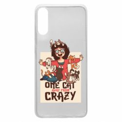 Чехол для Samsung A70 One cat away from crazy
