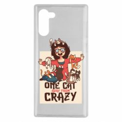 Чехол для Samsung Note 10 One cat away from crazy