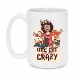 Кружка 420ml One cat away from crazy
